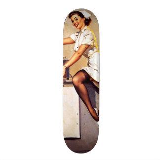 Vintage Retro Gil Elvgren Nurse Pin Up Girl Skateboard Deck