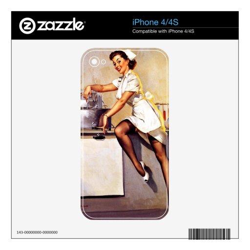 Vintage Retro Gil Elvgren Nurse Pin Up Girl Skin For The iPhone 4