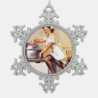 Vintage Retro Gil Elvgren Nurse Pin Up Girl Snowflake Pewter Christmas Ornament