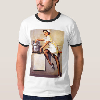 Vintage Retro Gil Elvgren Nurse Pin Up Girl T-Shirt