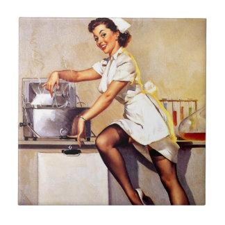 Vintage Retro Gil Elvgren Nurse Pin Up Girl Tile