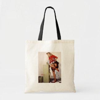 Vintage Retro Gil Elvgren Office Pinup Girl Budget Tote Bag
