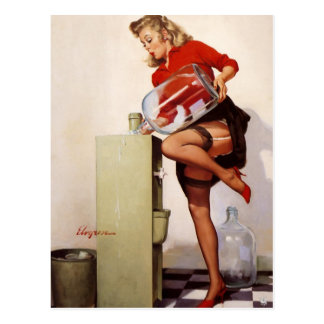 Vintage Retro Gil Elvgren Office Pinup Girl Postcard
