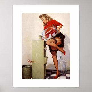 Vintage Retro Gil Elvgren Office Pinup Girl Poster