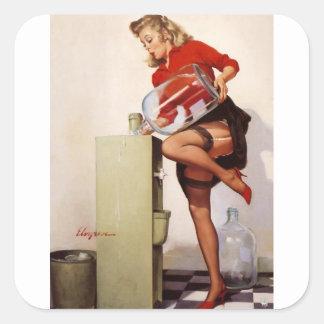 Vintage Retro Gil Elvgren Office Pinup Girl Stickers