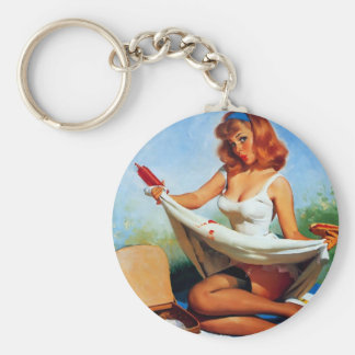 Vintage Retro Gil Elvgren Picnic Pin Up Girl Keychain