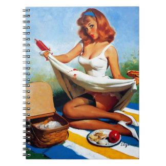 Vintage Retro Gil Elvgren Picnic Pin Up Girl Notebook