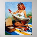 Vintage Retro Gil Elvgren Picnic Pin Up Girl Print