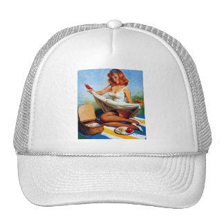 Vintage Retro Gil Elvgren Picnic Pin Up Girl Trucker Hat