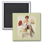 Vintage Retro Gil Elvgren Pin Up Girl 2 Inch Square Magnet