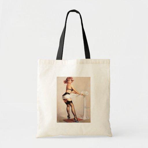 Vintage Retro Gil Elvgren Pin Up Girl Canvas Bags