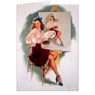 Vintage Retro Gil Elvgren Pin Up Girl Card