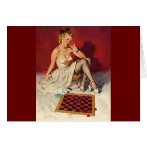 Vintage Retro Gil Elvgren Pin Up Girl Card