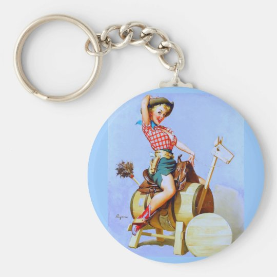 Vintage Retro Gil Elvgren Pin Up Girl Keychain