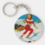 Vintage Retro Gil Elvgren Pin Up Girl Keychains
