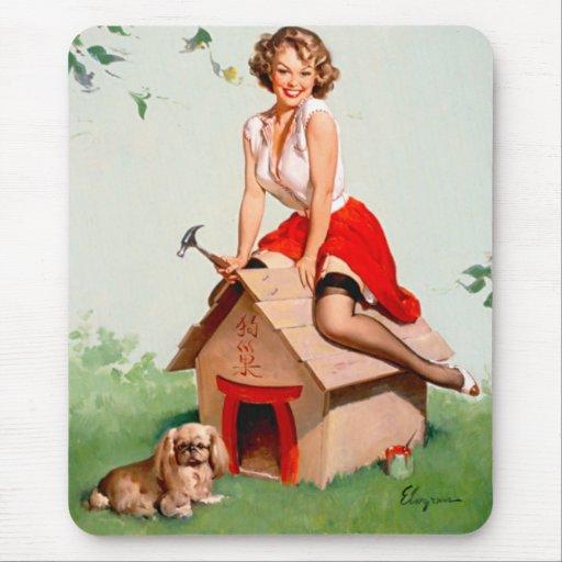 Vintage Retro Gil Elvgren Pin Up Girl Mouse Pad