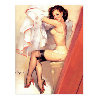 Vintage Retro Gil Elvgren Pin Up Girl Postcard