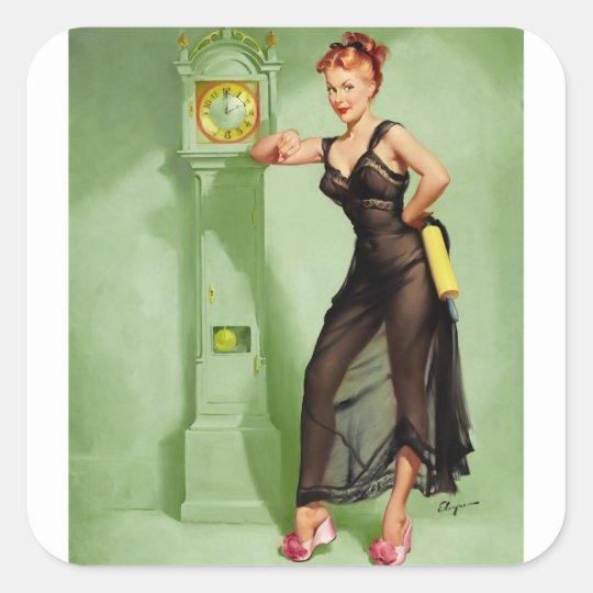Vintage Retro Gil Elvgren Pin Up Girl Square Sticker