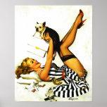 Vintage Retro Gil Elvgren Pinup Girl with dog Poster
