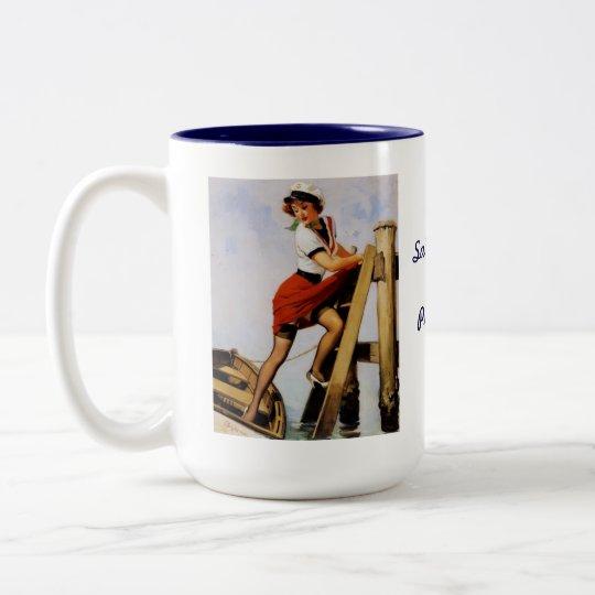Vintage Retro Gil Elvgren Sailor Pin-up Girl Two-Tone Coffee Mug