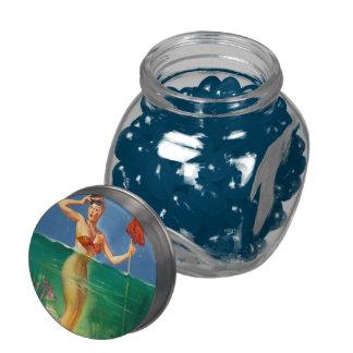 Vintage Retro Gil Elvgren Scuba Diver Pin Up Girl Glass Jars