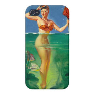 Vintage Retro Gil Elvgren Scuba Diver Pin Up Girl Cover For iPhone 4
