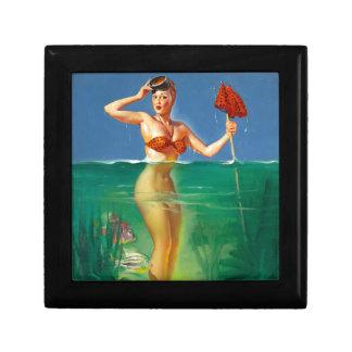 Vintage Retro Gil Elvgren Scuba Diver Pin Up Girl Trinket Boxes