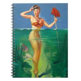 Vintage Retro Gil Elvgren Scuba Diver Pin Up Girl Spiral Notebook