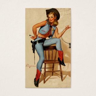 Vintage Retro Gil Elvgren Sheriff Pin Up Girl Business Card