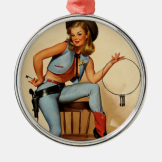 Vintage Retro Gil Elvgren Sheriff Pin Up Girl Metal Ornament