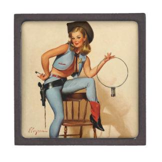Vintage Retro Gil Elvgren Sheriff Pin Up Girl Premium Jewelry Boxes