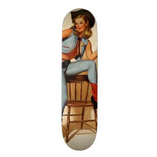 Vintage Retro Gil Elvgren Sheriff Pin Up Girl Skateboard