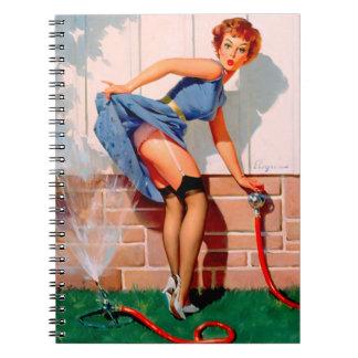 Vintage Retro Gil Elvgren Sprinkler Pin Up Girl Notebook