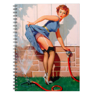 Vintage Retro Gil Elvgren Sprinkler Pin Up Girl Spiral Notebook