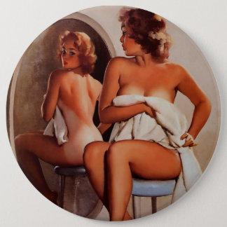 Vintage Retro Gil Elvgren Sun Tan Pinup girl Button