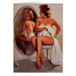 Vintage Retro Gil Elvgren Sun Tan Pinup girl Greeting Card