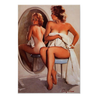 Vintage Retro Gil Elvgren Sun Tan Pinup girl Card