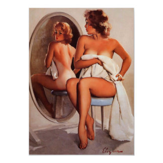Vintage Retro Gil Elvgren Sun Tan Pinup girl Magnetic Card