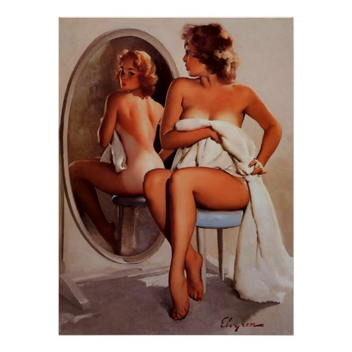 Vintage Retro Gil Elvgren Sun Tan Pinup girl Poster