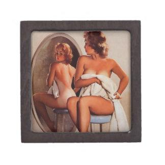 Vintage Retro Gil Elvgren Sun Tan Pinup girl Premium Jewelry Box