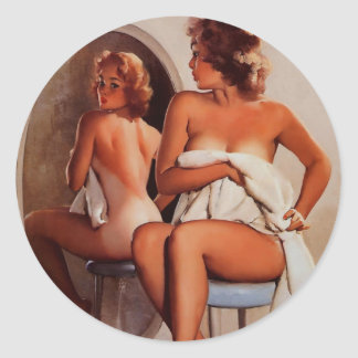Vintage Retro Gil Elvgren Sun Tan Pinup girl Stickers