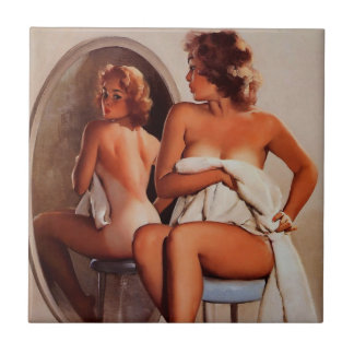 Vintage Retro Gil Elvgren Sun Tan Pinup girl Tile