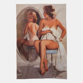 Vintage Retro Gil Elvgren Sun Tan Pinup girl Towels