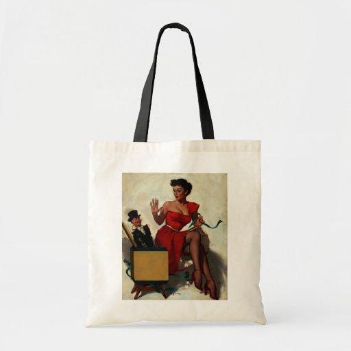 Vintage Retro Gil Elvgren Surprise  Pin Up Girl Canvas Bags