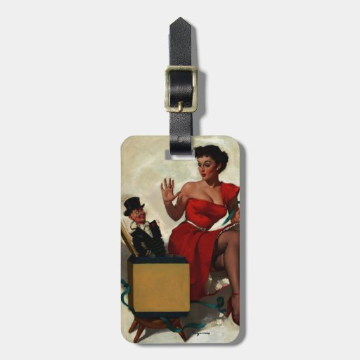 Vintage Retro Gil Elvgren Surprise  Pin Up Girl Tag For Luggage