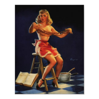 Vintage Retro Gil Elvgren Taffy maker Pinup girl Card