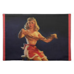 Vintage Retro Gil Elvgren Taffy maker Pinup girl Cloth Placemat