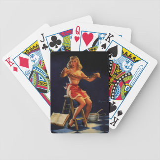 Vintage Retro Gil Elvgren Taffy maker Pinup girl Bicycle Playing Cards