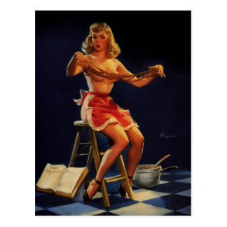 Vintage Retro Gil Elvgren Taffy maker Pinup girl Postcard
