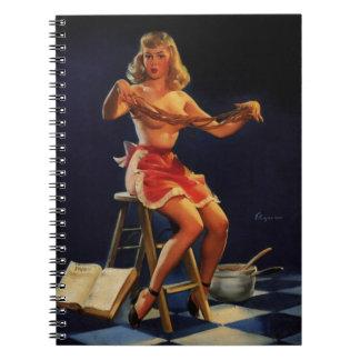 Vintage Retro Gil Elvgren Taffy maker Pinup girl Spiral Notebook